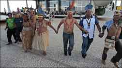 Indians from the Raposa Serra do Sol reservation celebrate, 19 March