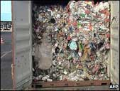 Waste in container in Brazilian port 11.6.09. The contents of the containers were clearly of UK origin