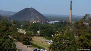 A view of Lubumbashi with a hill caused by smelting in the background