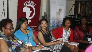 Some of the more than 100 participants at FEMNET's annual conference yesterday in a discussion at the PanAfric Hotel, Nairobi, yesterday. The women from different parts of the Continent are expected to participate in the march Thursday, October 31, to press for justice for the Busia girl gang-raped and violently attacked four months ago. Her attackers are yet to be arrested. PHOTO/ANN KAMONI