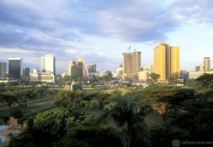 Overlooking skyscrapers in the Nairobi skyline. Photograph by Curt Carnemark/World Bank.