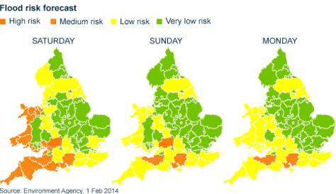 Three-day flood flood risk forecast