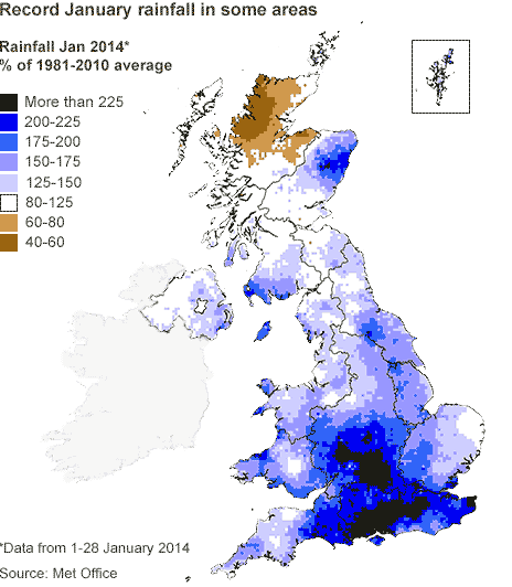 A map of the UK showing rainfall compared to the January average