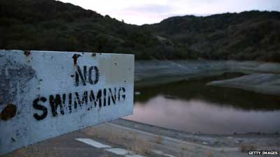 No swimming sign at the Almaden Reservoir (28 January 2014) Residents have been urged to double their water conservation efforts
