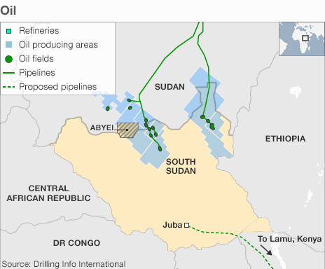 Both Sudan and the South are reliant on oil revenue, which accounts for 98% of South Sudan's budget. They have fiercely disagreed over how to divide the oil wealth of the former united state - at one time production was shutdown for more than a year. Some 75% of the oil lies in the South but all the pipelines run north.