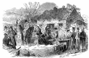 To support the famine relief effort, British tax policy required landlords to pay the local taxes of their poorest tenant farmers, leading many landlords to forcibly evict struggling farmers and destroy their cottages in order to save money. From Hunger on Trial Teaching Activity.