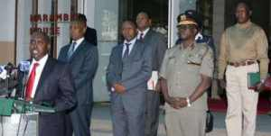 Internal security Cabinet Secretary Joseph Ole Lenku flanked by other Security officials. Photo/EVANS HABIL