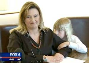 Lisa Parr and her daughter Emma pictured in 2011. On Tuesday the family was vindicated when a jury found a fracking company guilty of causing damages to the family's health and home. (Screenshot: Fox 4)