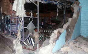 Building ravaged by explosion in Eastleigh, Nairobi.