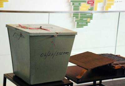 One of the ballot boxes used in South Africa's first post-apartheid elections. Photograph by Adam Fagen.