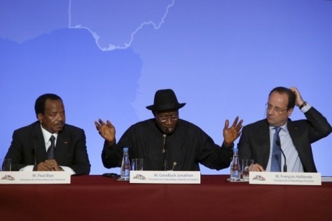 Nigeria President Goodluck Jonathan, center, during a meeting in France on countering Boko Haram CREDIT: AP Photo/Francois Mori