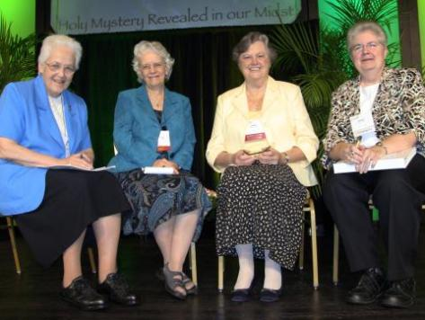 Sharon Holland, IHM; Florence Deacon, OSF; Janet Mock, CSJ; and Carol Zinn, SSJ