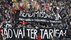 Anti-government protesters march along Reboucas Avenue in Sao Paulo in June