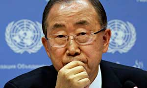 UN secretary general Ban Ki-moon said 'action on climate change is urgent.' Photograph: Richard Drew/AP
