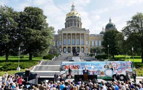 "Vice President Joseph R. Biden Jr. spoke on Wednesday in front of the statehouse in Des Moines as he helped a group of social justice activists kick off their 10-state ""Nuns on the Bus"" tour. Credit Charlie Neibergall/Associated Press"