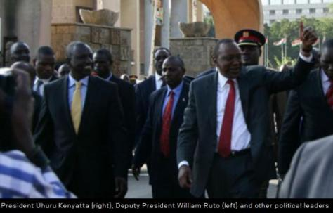 President Uhuru Kenyatta (right), Deputy President William Ruto (left) and other political leaders walking from Parliament to Harambee House after the President announced he would go to The Hague to attend an ICC hearing. BILLY MUTAI | NATION MEDIA GROUP