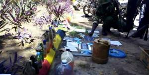 Police in Mombasa display items allegedly recovered following Tuesday night raids on two mosques in Kisauni on Wednesday November 19. PHOTO | NATION MEDIA GROUP