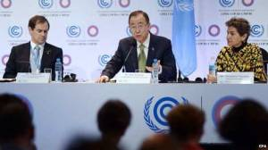 United Nations Secretary General Ban Ki-moon (C), flanked by COP20 executive secretary Christiana Figueres (R) and Climate Change advisor Robert Orr (L) Many negotiators see 2 degrees as the threshold for dangerous climate change
