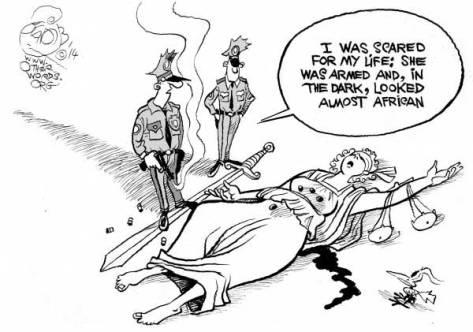 The Prejudicial System. (OtherWords cartoon by Khalil Bendib)