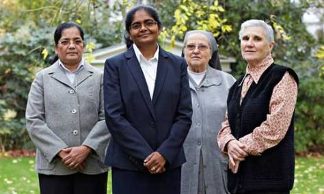 Sister Ancy Mathew with members of her order, the Congregation of Adoratrices. Photograph: Andy Hall for the Observer