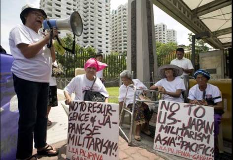 "Former Filipino ""comfort women,"" protest outside the Japanese embassy in Pasay City, Philippines, June 25. (CNS/EPA/Ritchie B. Tongo)"