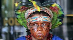Indigenous protester in Brasilia Indigenous groups fear the economic power of landowners in the National Congress