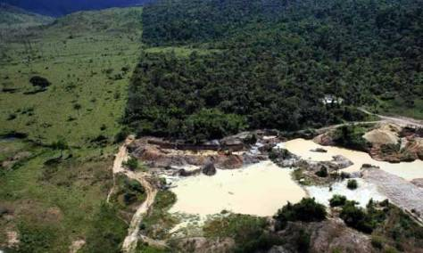 An illegal gold mine on an area of deforested Amazon rainforest the city of Castelo dos Sonhos, Pará State, Brazil. Photograph: Nacho Doce/Reuters