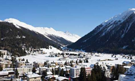 The Swiss ski resort of Davos, home to the annual meeting of the World Economic Forum. Photograph: Christian Kober/Robert Hardi/REX