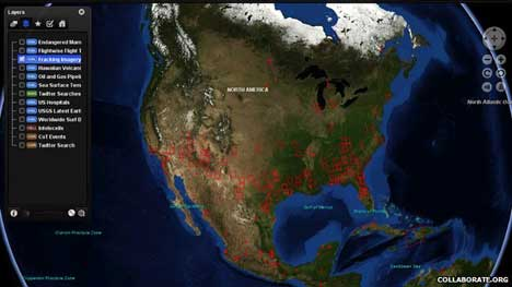 Interactive map, example. This shows fracking in North America Wider public access to more data sets should make it easier to track people-trafficker operations