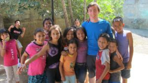Chris with children at the Sisters of the Guardian Angels in Managua