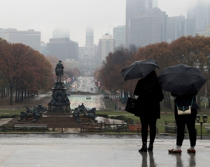 A general view of the Benjamin Franklin Parkway is seen from the steps of the Philadelphia Museum of Art looking towards City Hall in Philadelphia