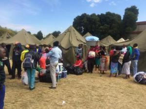 A camp set up to house foreigners in South Africa after widespread xenophobic attacks broke out.