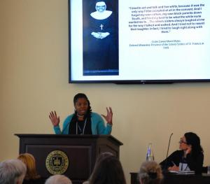 Dr. Shannen Dee Williams pesented some of her research at an international symposium at the University of Notre Dame's London Global Gateway campus. (GSR/NCR)