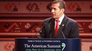 Peruvian President Ollanta Humala speaking at the WTTC Americas Summit. World Travel and Tourism Council.