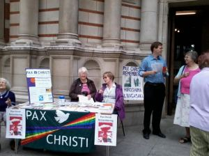 Information stall outside Westminster Cathedral