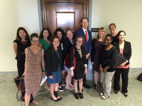 The picture below was taken on Thursday, 30th July with Ron Wyden, the Oregon senator.  With many Hill visits to him and some others, he co-sponsored the Healthy Families Act Bill on Thursday and invited us to take picture with him. Healthy Families Act gives over 40 million American workers access to paid sick day leave to care for their health or the health of family members, thus freeing them from facing the impossible choice of caring for their health or keeping their paycheck or job. The bill would give workers access to earn paid sick day and paid sick time to care for a sick child or family member. For the coalition's effort, since March, we have been able to secure 29 senators and 122 representatives as co-sponsors of the bill. Hopefully, the bill which came to the floor in 2013, but did not have enough support, will be re-introduced soon with stronger support.