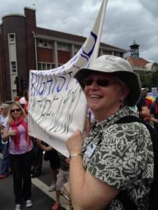 Sr. Pat Siemen participates in the Earth Rights march in Durban, South Africa during the COPs 17 U.N. climate conference December 2011. (Robin Milam)