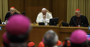 Pope Francis attends the morning session on the final day of the extraordinary Synod of Bishops on the family at the Vatican Oct. 18, 2014. At left is Cardinal Lorenzo Baldisseri, general secretary of the Synod of Bishops, and at right Cardinal Peter Erdo of Esztergom-Budapest, Hungary, relator for the synod. (CNS/Paul Haring)