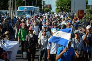Hundreds of small farmers came to Managua from the Caribbean coastal region in southern Nicaragua on Oct. 27 to take part in the 55th protest against the construction of the inter oceanic canal, which is set to displace thousands of rural families. Credit: Carlos Herrera/IPS