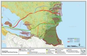 Map of southern Nicaragua with the six projected canal routes. The fourth, in green, was the one that was selected. Credit: ERM