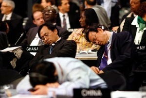 Asleep at the wheel: negotiators slumber during all-night crisis talks in Copenhagen, 2009. Christian Charisius/ Reuters