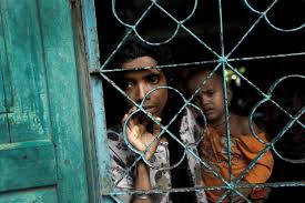 A newly arrived Rohingya refugee waits to be transferred to a camp in Cox's Bazar, Bangladesh,